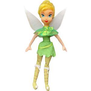 Disney Fairies Tinker Bell Peter Pan Doll Wings Plush Toy Plastic Head 36cm