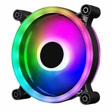 CIT Raider Dual-Ring 16 LED 120mm Rainbow RGB Silent PC Cooling Case Fan 5-Pin