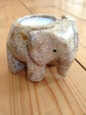 FOSSIL STONE MARBLE ELEPHANT TEA LIGHT CANDLE HOLDER GIFT BOXED COLLECTABLE