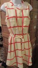 JULIE BROWN NYC Striped Dress Pink & White Belt 4 Pockets & Buttons Size 6  NEW!