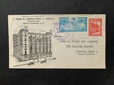 1931 DOMINICAN REPUBLIC AD COVER > US ! AIR MAIL 10c +2c ! SANTO DOMINGO FANCY !
