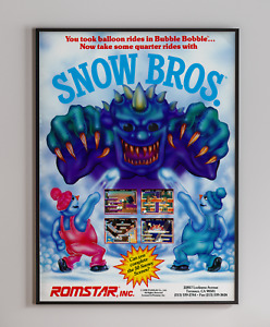 Snow Bros Romstar 1990 Retro Video Game Poster 18 x 24 inches