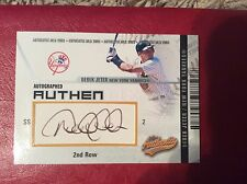 2003 FLEER AUTHENTIX 2nd ROW SIGNATURE Piece of BASEBALL DEREK JETER #084/150