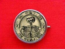 MEMENTO MORI SKELETON SKULL MOURNING DEATH STASH ROUND MINT METAL PILL BOX CASE