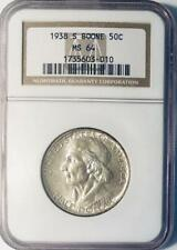 1938-S  Boone Commemorative Silver Half Dollar - NGC MS-64 - Low Mintage