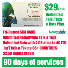 Includes 90 days LycaMobile Prepaid LYCA SIM Card $29 Unlimited Talk Text & Data