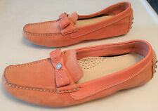 COLE HAAN women's Peach suede moccasins w/Leather,Chrome trim - Size 7 B - India
