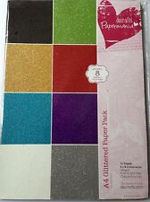 PAPERMANIA A4 GLITTERED PAPER PACK ASSORTED COLOURS 16 SHEETS 160gsm