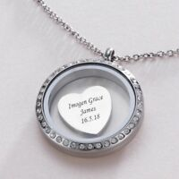 Ladies Glass Locket Necklace with Free Engraving on Heart or Round Charm