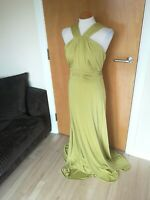 Ladies DEBENHAMS Dress Size 14 Yellow Long Maxi Stretch Party Evening Ruched
