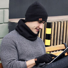 Unisex Mens Winter Warm Soft Suede Beanie Scarf Screen Touch Gloves 3Pcs Set