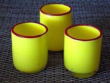 3 ART GLASS TUMBLER VASES VOTIVE CANDLE HOLDERS YELLOW HAND BLOWN  #B5