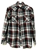 Urban Pipeline Mens Long Sleeve Flannel Plaid Dress Shirt Red Size Small