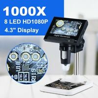 "4.3"" VGA 1000X Zoom Digital Microscope Magnifier Record Camera For PCB Repairing"