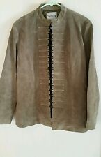 Chicos Suede Leather Jacket NWT  Moss Grey Size 2