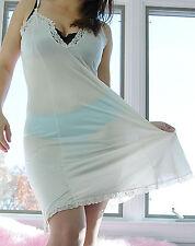 Vtg Bari Ivory Fancy Scalloped Lace Soft Satin Nylon Full Slip Dress sz 34