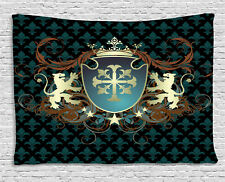 Medieval Tapestry Heraldic Coat of Arms Print Wall Hanging Decor 60Wx40L Inches