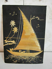 Authentic Handmade in India Woven Straw Mural-Sailboat on Water with Rowers