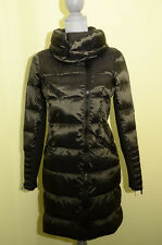 BCBG MAX AZRIA Asymmetrical Quilted Wide Collar Down Puffer Jacket Coat M Loden