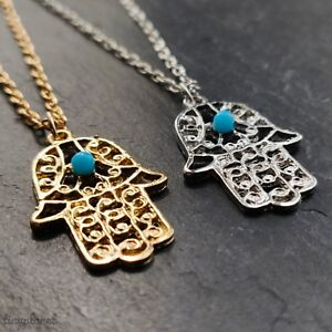 Hamsa Hand Necklace Pendant Hand of Fatima Evil Eye Protection Yoga Boho Zodiac