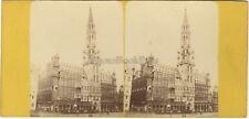 Hotel de ville Bruxelles Belgique Photo Stereo Vintage Albumine ca 1865