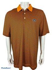 Cutter And Buck University Of Auburn Tigers Orange Striped Men's Shirt Size XL