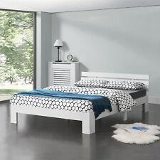 [en.casa] Holzbett 140x200cm Bettgestell Bett Doppelbett Kiefer Jugendbett Weiß