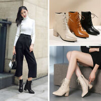 Women's Fashion Ankle Boots Pointed Toe Chunky Block Heels Casual Work OL Shoes