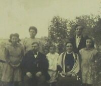 1880-1889 Antique Gelatin-Silver Sepia Photograph, Family Portrait Outside