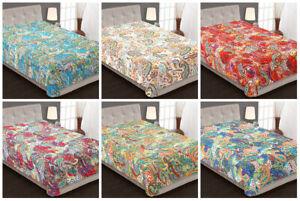 Ethnisch Baumwolle Bettüberwurf Bettdecke Kantha Paisley Single Tages Decke