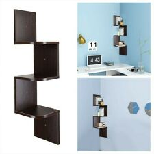 3 5 Tiers Wall Corner Wood Shelf Zig Zag Floating Display Home Office Furniture