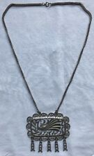 Vintage Pewter Peacock Pendant Necklace
