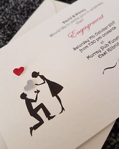 10 Personalised handmade Engagement proposal Invitations Invites with Envelopes