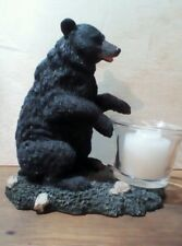 Resin Black Bear With Votive Candle Holder