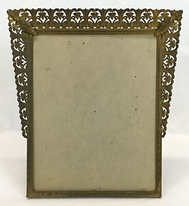 Unique Vintage Art Deco Filigree Brass Tapered Easel Photo Frame 8 x 10 Opening