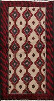 Geometric Balouch Afghan Oriental Area Rug Hand-knotted Wool Foyer Carpet 4x6 ft