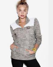 Victoria's Secret Pink Marl Grey Half Zip Pullover ~ Size Large