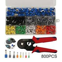 Wire Crimping Pliers Tool Ferrule Crimper 0.25-6mm² + 800Pcs Crimp Terminals