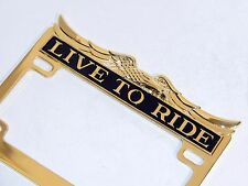 """""""Live To Ride"""" Gold/Brass Motorcycle License Plate Frame Harley Bobber Chopper"""