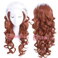 X-Men Rogue White Mixed Brown 60cm Wave Curly Hair Cosplay Wigs+Wig Cap CB77