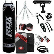 Rdx Unfilled Punching Bag Boxing Mma Kick Bags Black Training Sport Chain Wraps