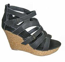 Strappy espadrille platform sandals 4.5 inch wedge high heels black size 7.5