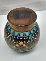 Vintage Hand Carved & Painted Wooden Lidded Jar - Made in Poland