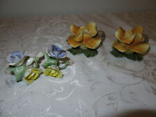 New listing Beautiful Capodimonte Italy Pair Yellow Rose Candleholders & 2 Napkin Rings