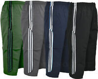 Mens Summer 3/4 Elasticated Waist Long Shorts Zip Pockets M-2XL