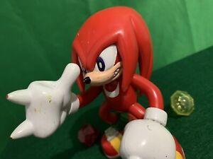 "Sonic X Knuckles Echidna Sega Toy Island 2000 5"" Inch Figure w/ Chaos Emeralds"