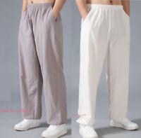Mens Womens Linen Martial Arts Tai Chi Yoga Pants Wing Chun Kung Fu Trousers