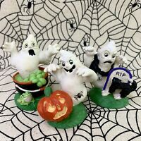 Midwest Of Cannon Falls Creepy Hollow Dept 56 - 3 Ghosts Halloween Figurines NOS