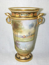 Antique 19thc Noritake Nippon Matte Scenic Vase - Gold Jeweled & Encrusted
