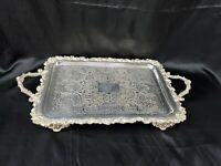 "Antique Victorian Plated Silver Handled Tray With Feet Marked FSG 11""x21"""